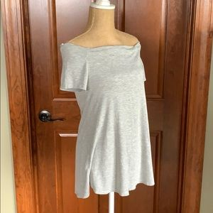 Pink blush gray maternity off shoulder top size S